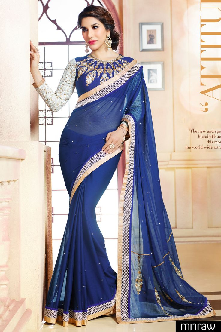 Gorgeous navy blue chiffon saree