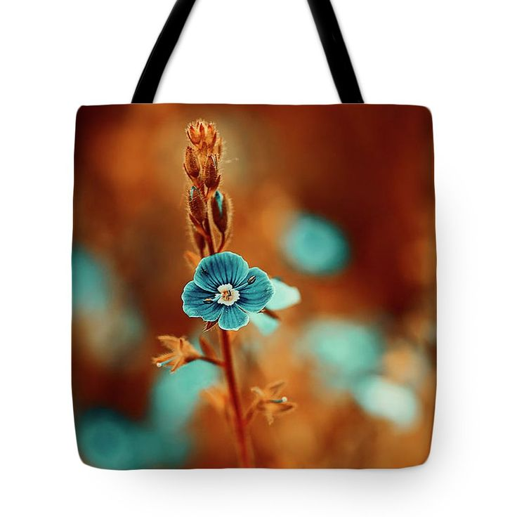 Beautiful Tote Bag featuring the photograph Small Blue Forget-me-not On Orange by Oksana Ariskina. Small blue wildflower forget-me-not, closeup view on orange brown toned background. Available as mugs, posters, greeting cards, phone cases, throw pillows, framed fine art prints, metal, acrylic or canvas prints, shower curtains, duvet covers with my fine art photography online: www.oksana-ariskina.pixels.com #OksanaAriskina