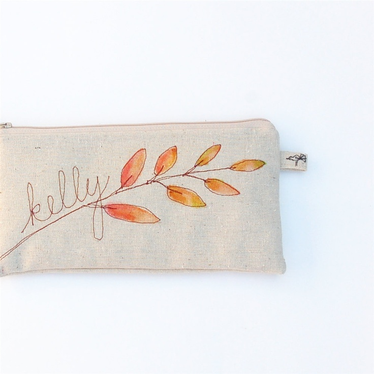 autumn wedding, leaf pouch, custom name clutch, hand painted purse, personalized fall fashion, bridesmaid MADE TO ORDER by mamableudesigns.