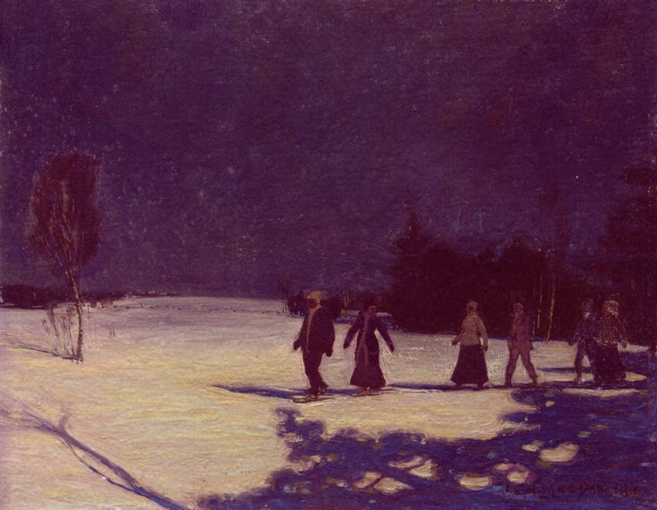 """This unusual yet charming """"Snowshoeing by Moonlight"""" scene from J.E.H. MacDonald had lots of market appeal, despite its small size. Estimated at $25/35,000 it sold for a solid $83,000."""