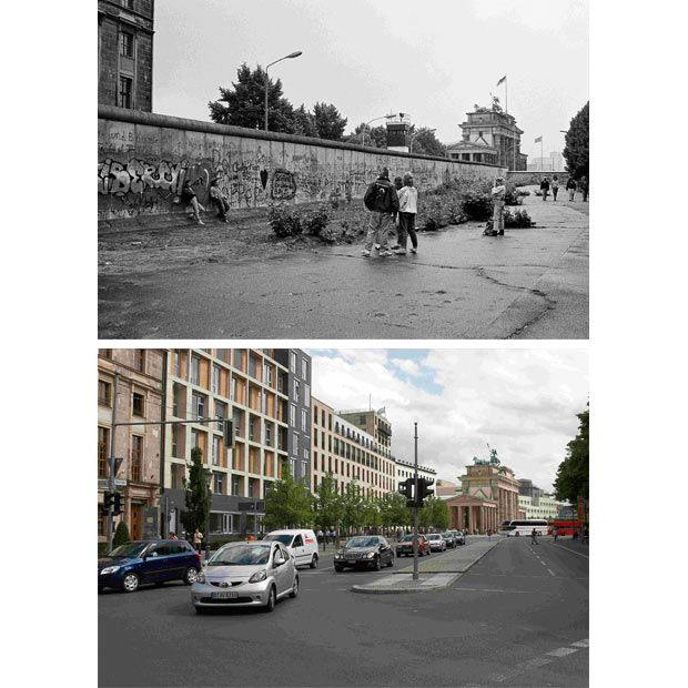 Berlin in 1989 right before the wall came down,and today. What an incredible transformation of this strong and resilient city.