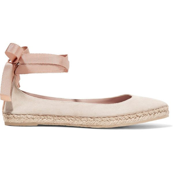 AERIN Suede espadrilles ($430) ❤ liked on Polyvore featuring shoes, sandals, pink, suede, neutrals, ballet flats, suede shoes, espadrille flats, beige ballet flats and flat pumps