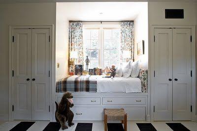 built in bed #built_ins #bedroomClosets Doors, Windows Seats, Kids Room, Reading Nooks, Bedrooms, Window Seats, Boys Room, Cozy Beds, Built In Beds
