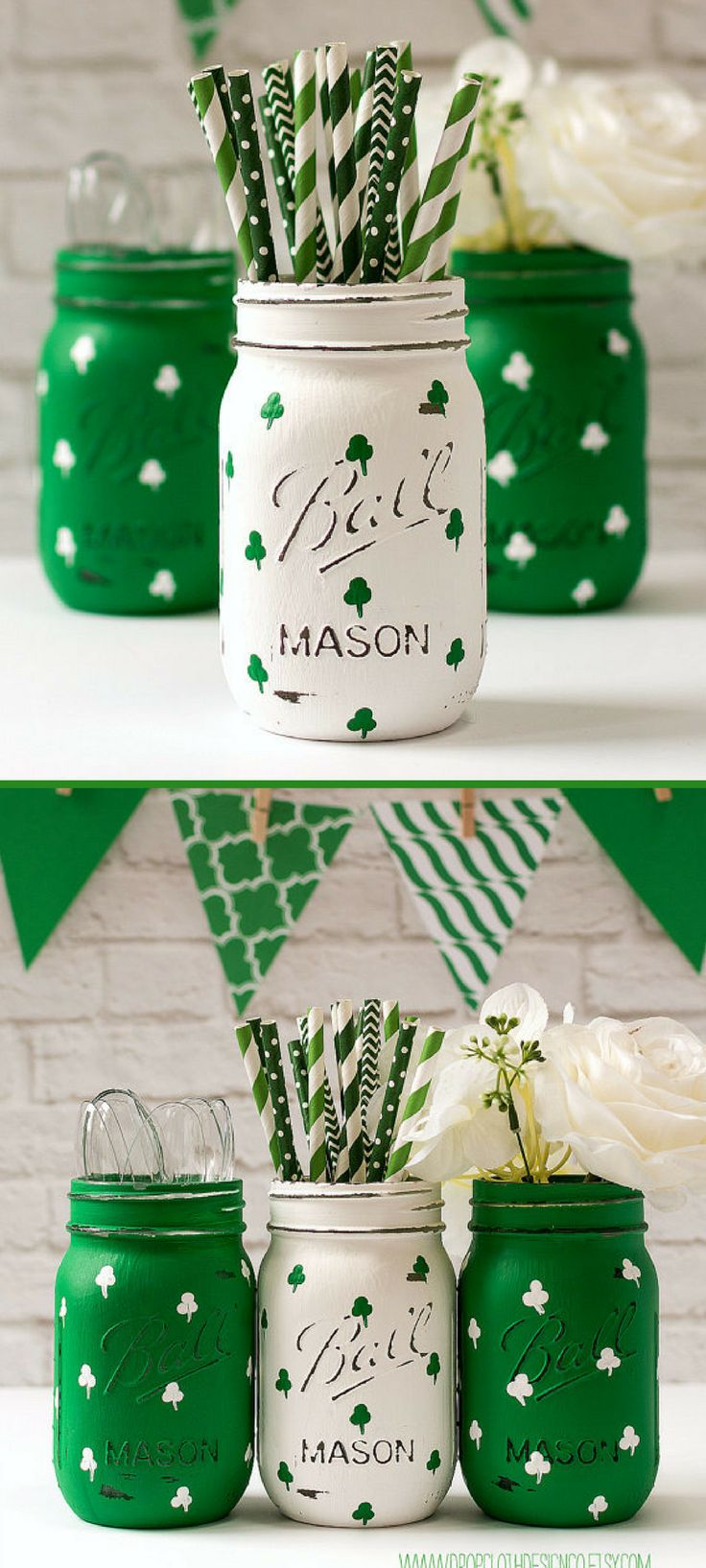 Two of my favorite things...Mason Jars and the color Green.  These Shamrock painted Mason Jars would make great accent pieces to our St. Patrick's Day Home Decor.  #Ad #stpatricksday #masonjars #homedecor