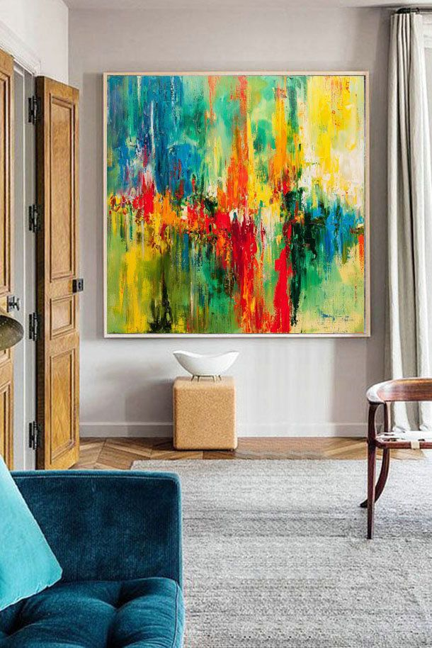 Abstract Painting Colorful Wall Art Green Painting Red Painting Original Art Oil Living Room Decor Crazy Colors Abstract Painting Red Painting Green Paintings #red #paintings #for #living #room