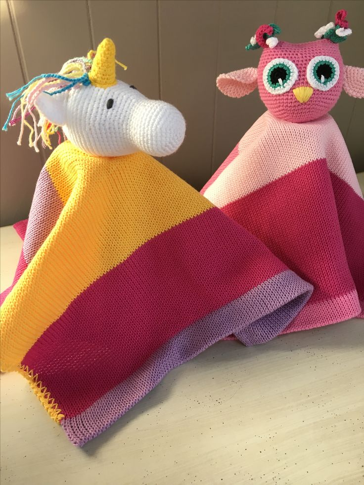 Unicorn lovey and owl...100% COTTON available in different colors #loveys#babyblankets#crochet unicorn # knit unicorn