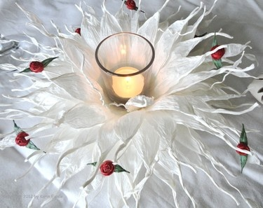 White paper flower made of paper twine by Paperilla.