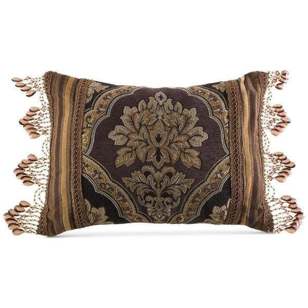 "J Queen New York Hanover 15"" x 21"" Decorative Pillow ($24) ❤ liked on Polyvore featuring home, home decor, throw pillows, beads, damask throw pillows, asian home decor, woven throw pillows, tassel throw pillow and asian throw pillows"