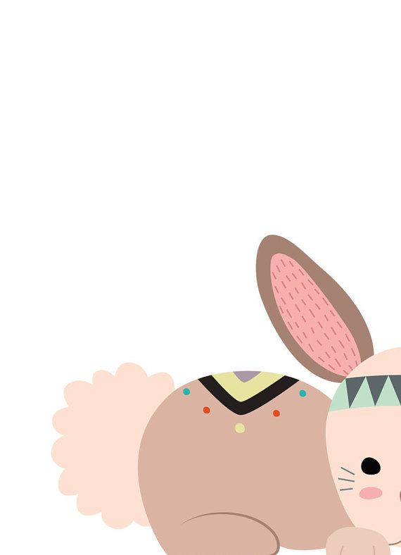 Tribal nursery decor Bunny nursery art Baby by WordsAndConfetti
