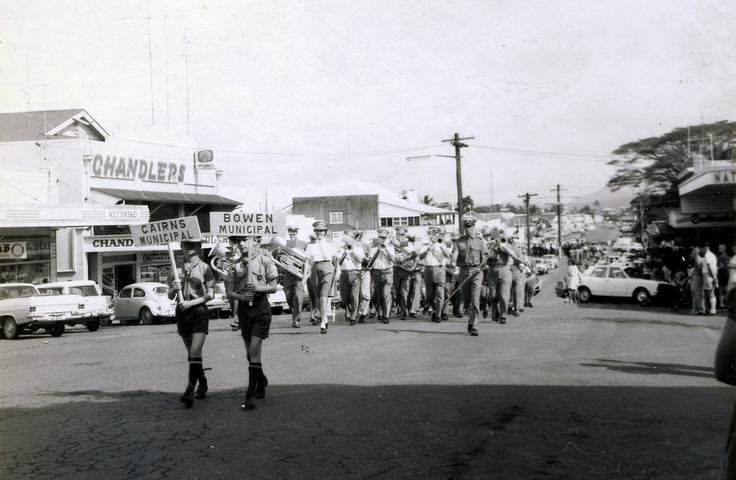 Jun 1970 Innisfail Band Festival - Chandlers and National Bank opposite, in Edith Street.