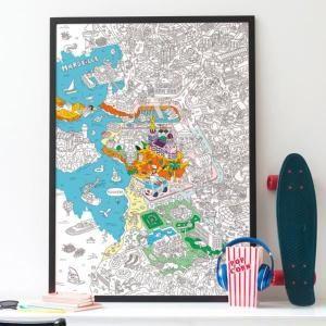 Poster Géant à Colorier Marseille - OMY Noir Et Blanc