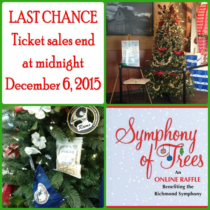 TICKET SALES FOR THE 2015 SYMPHONY OF TREES END AT MIDNIGHT TONIGHT!!! Visit www.rsol.org for info and to purchase your tickets!  DON'T MISS OUT ON YOUR CHANCE TO WIN ONE OF 5 PRIZE PACKAGES WORTH THOUSANDS!!  Tickets are $20 each and only 500 will be sold for each themed prize package.  There are trips, concerts, sporting events, wine tastings, restaurant meals, and SO much more to win!  Visit www.rsol.org for complete prize lists.