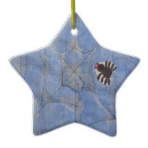 Art by Children, Spider with cobweb, drawing Ceramic Ornament