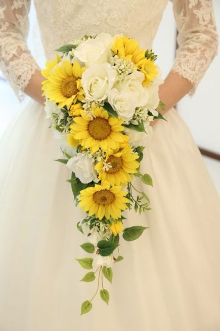 Lovely cascading sunflower bouquet