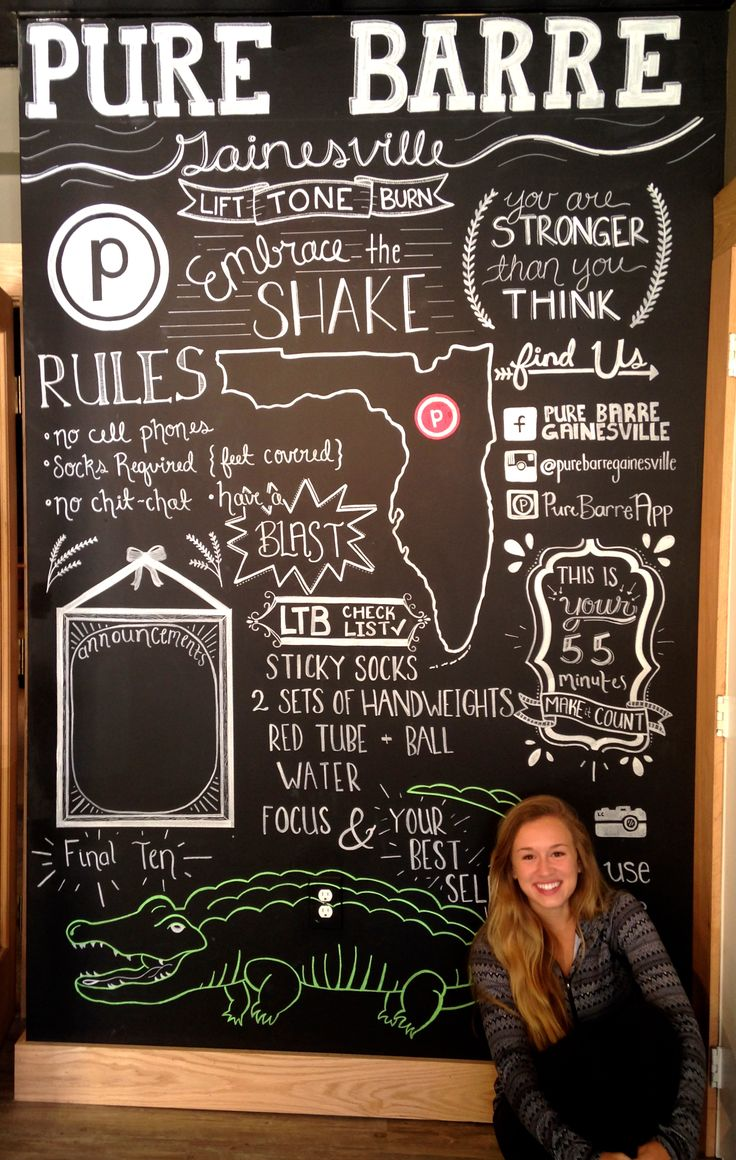 Chalkboard wall I designed for a fitness studio called Pure Barre. Used Chalkboard paint on the wall, then white, green, and red chalk paint pens for the writing. Took 15 hours!
