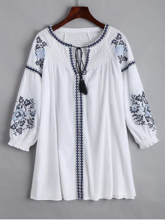 Embroidered Smocked Panel Mini Dress - WHITE M