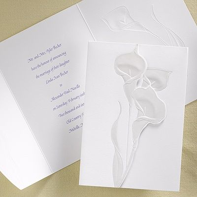 Great This Tri Fold, Bright White Invitation Has A Pearlized Calla Lilies On The  Front.
