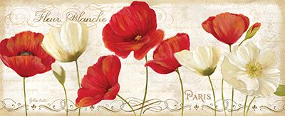 RB6795CC  Paris Poppies Panel II  8x20
