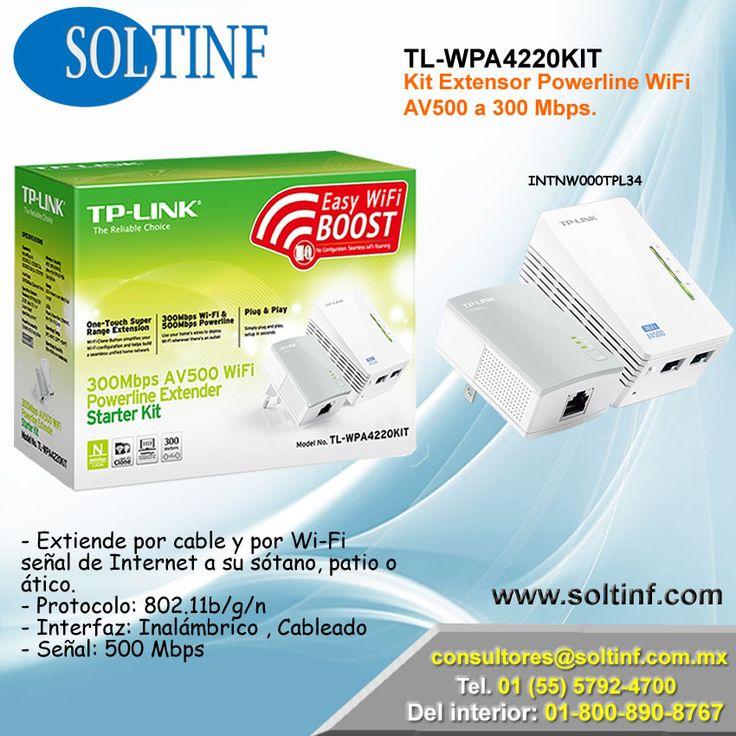 Extensor WiFi TL-WPA4220KIT - #Kit #Extensor #Powerline #WiFi #AV500 a 300 Mbps. - Extiende por cable y por Wi-Fi señal de Internet a su sótano, patio o ático. - Protocolo: 802.11b/g/n - Interfaz: Inalámbrico , Cableado - Señal: 500 Mbps NUESTRA TIENDA EN LINEA: https://www.soltinf.com/