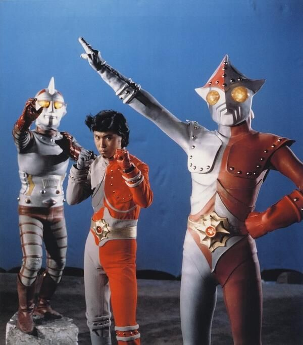 "vintagehenshin: ""Naoki Tachibana (played by….Naoki Tachibana) alongside Jumborg Ace (left) and Jumborg 9 (right). c. 1973. """