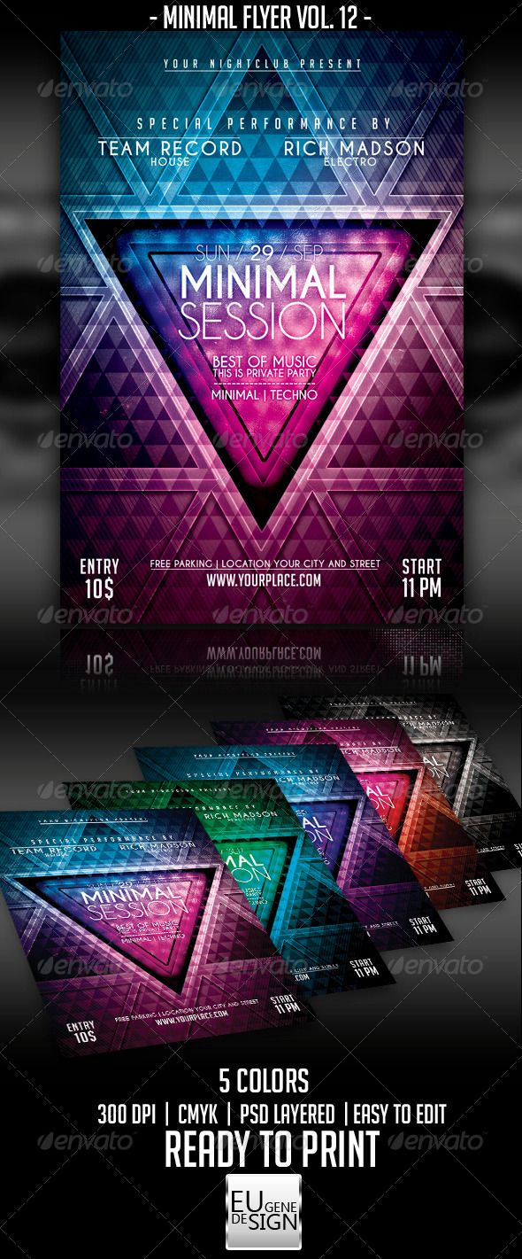 Minimal Flyer Vol. 12 — Photoshop PSD #clean #electronic • Available here →…