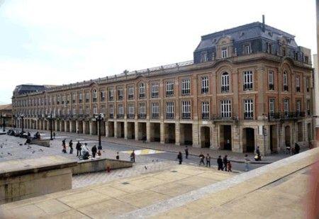 Palacio Lievano at one side of Plaza de Bolivar in Bogota, Colombia