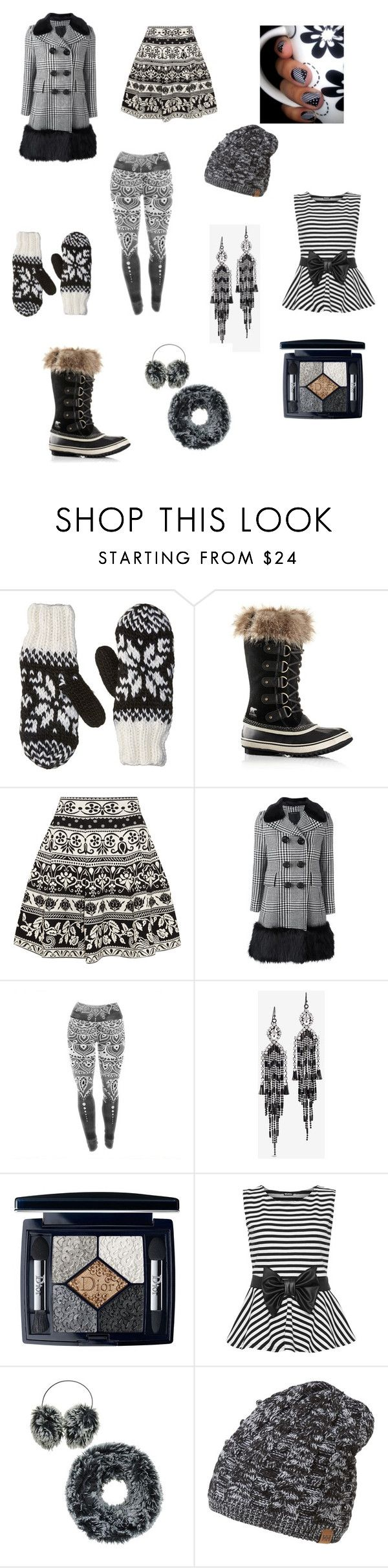 """""""Black and White winter outfit"""" by rbugybug ❤ liked on Polyvore featuring Bula, SOREL, Alexander McQueen, Marc Jacobs, White House Black Market, Christian Dior, WearAll and Helly Hansen"""