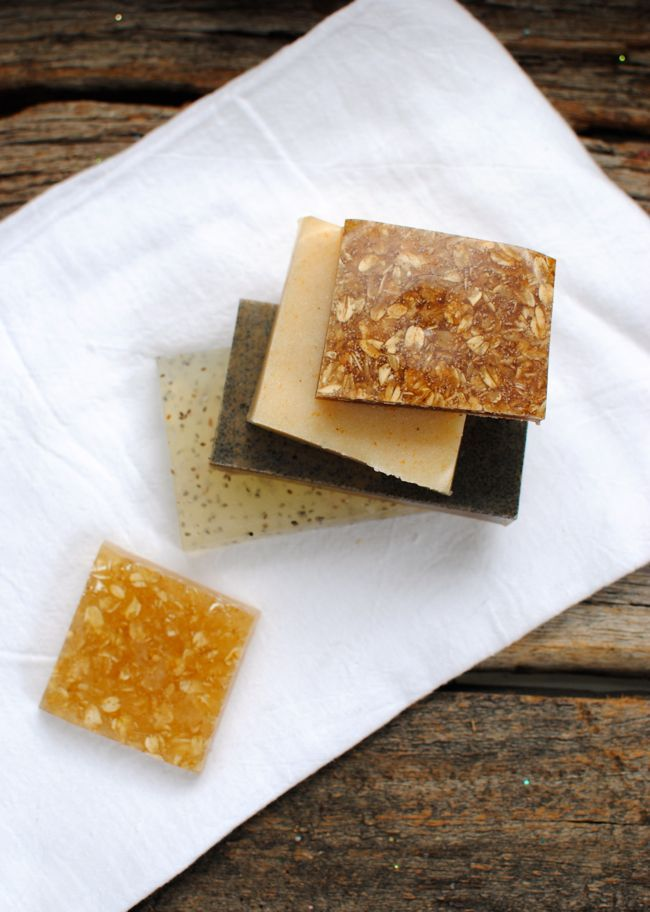 DIY: Exfoliating Homemade Soap – 4 Ways | http://hellonatural.co/diy-homemade-soap-bars/