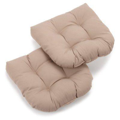 Blazing Needles Twill U-Shaped Indoor Chair Cushion - Set of 2 Toffee - 93184-2CH-TW-TF