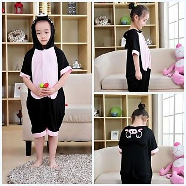 Kids Black Pig Modal Kigurumi Pajamas For Summer
