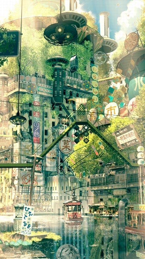 帝国少年 - A vision of a city of green and water. Anime/illustration
