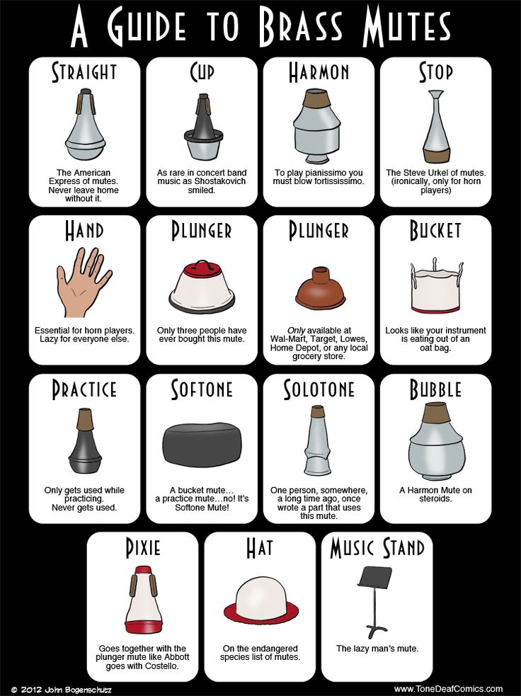 A Guide to Brass Mutes.  As a horn player I love the one about the stop mute and the hand mute.