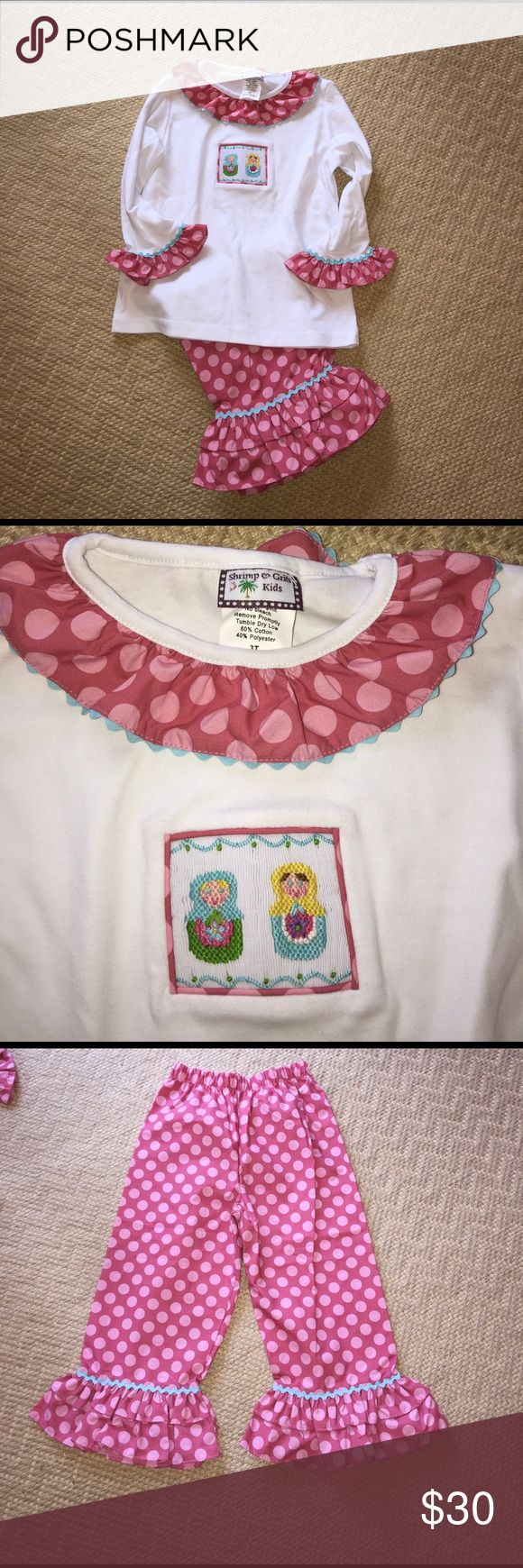EUC shrimp and grits smocked shirt pants outfit EUC and possibly NWOT. Smocked Russian Doll pant set. Ruffle trim on collar and sleeves matches elastic waist pants. Shrimp & Grits Kids Matching Sets