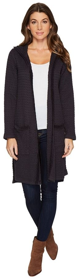 Mod-o-doc Signature Waffle Open Front Hooded Duster Cardigan Women's Sweater