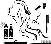 Clipart - lindo, pelirrojo, niña, peluquero, con, secador de pelo, y, cepillo, retrato, en, lleno, crecimiento, aislado, en, un, fondo blanco k23423971 - Buscar Clip Art, Ilustraciones de Murales,  imagenes y Vectores EPS e imágenes gáficas - k23423971.eps
