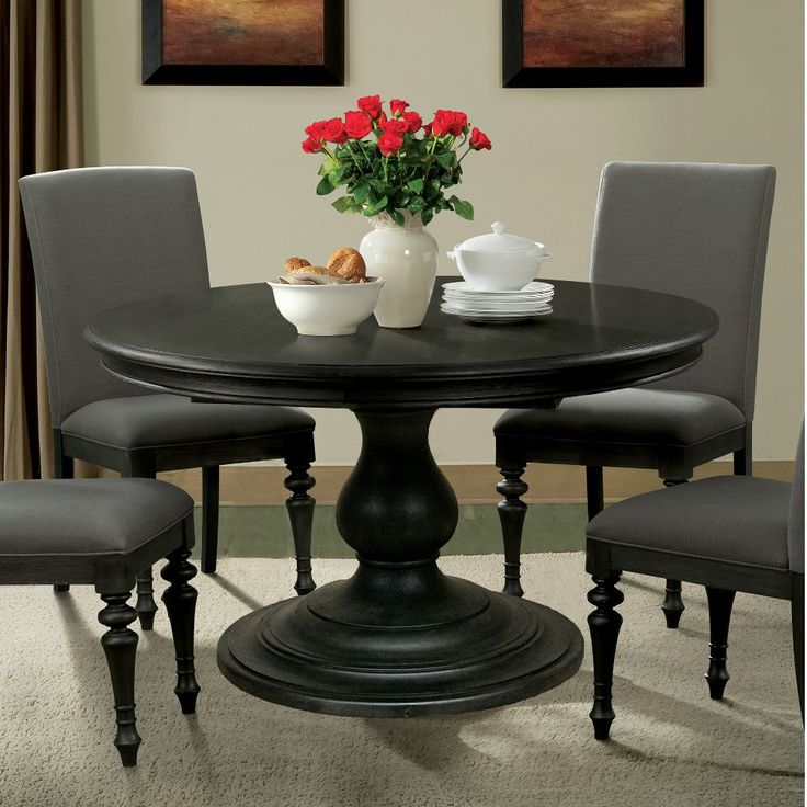 Finished In A Dark Hue Called Ebonized Acacia, The Corinne Pedestal Dining  Table Is Stunning! Designed With A ...