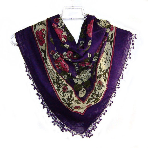 Traditional Turkish Yemeni Cotton Scarf With Lace, Purple / Fushia / Yellow Floral Pattern $28.00 USD
