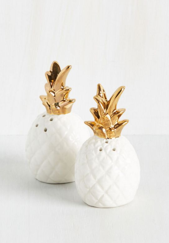 Gold Pineapple Salt and Pepper Shakers