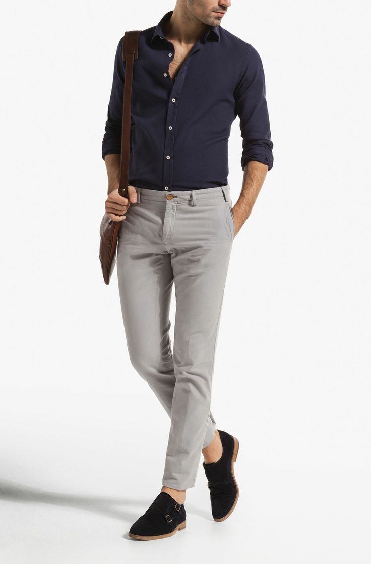 Navy Shirt . Light Grey Chinos . Navy Derbies