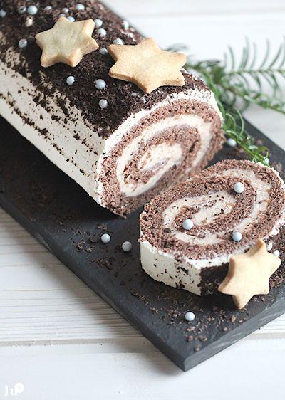 Ju* carnets : La bûche du réveillon : génoise au chocolat, fourrée de mascarpone & de crème de châtaignes...