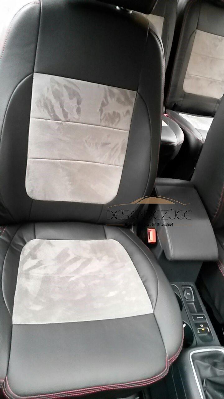 SEAT Alhambra Vordersitze mit SItzbezüge nach Maß ausgestattet. Für dieses Fahrzeug wurde die Lederlook-/ und Alkantara Variante ausgewählt. Der Innenraum wirkt nun heller und freundlicher. #SEAT, #Alhambra, #Tuning, #Alkantara