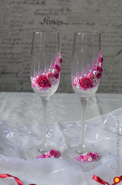 """Свадебные бокалы ручной работы """"Счастливые розы"""" - авторский свадебный подарок. МегаГрад - город мастеров"""