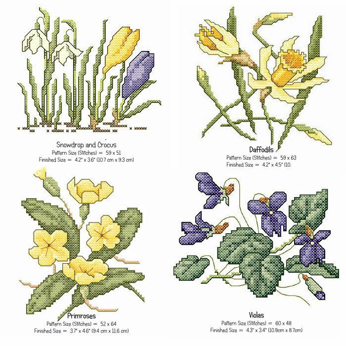 All 4 of the Spring cross stitch patterns from Stitcherydoodahs, you will receive the PDFs for each of these small designs which, on 14 count fabric, are no more than 4.3 x 4.6 (10.9cm x 11.6) each. Click the patterns below for exact sizes, or to purchase individually... - Daffodil Cross Stitch Pattern- Crocus & Snowdrop Cross Stitch Pattern- Violas Cross Stitch Pattern- Primrose Cross Stitch Pattern Use the designs to embellish household items, make a winter sampler or even stitch as a card…