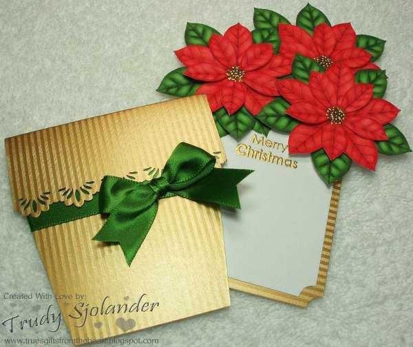 Poinsettia Flower Pot Pocket Card