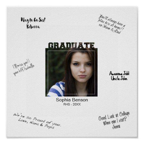 Modern Graduation Photo Signature Message Mat Poster