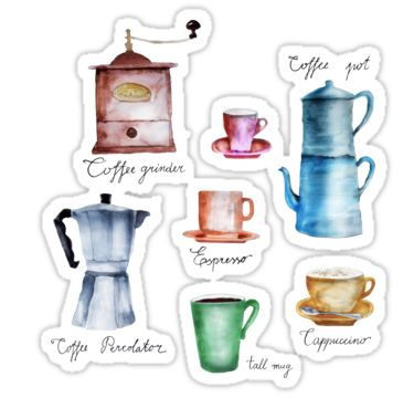 Vintage coffee watercolor illustration with coffee related objects and words in freehand style. All text and illustration is hand-drawn. • coffee,coffee lover,caffeine,coffee cup,mug,cappuccino,coffee pot,coffee percolator,espresso,coffee grinder,watercolor,aquarelle,original,unique,pattern,café,coffee house,cafetière,aromatic,typography,wordage,hot,creamy,delicious,addict,drink,ground,coffee poster,coffee wall art,pastel colors,artistic,trendy,home decor,best gift,good morning