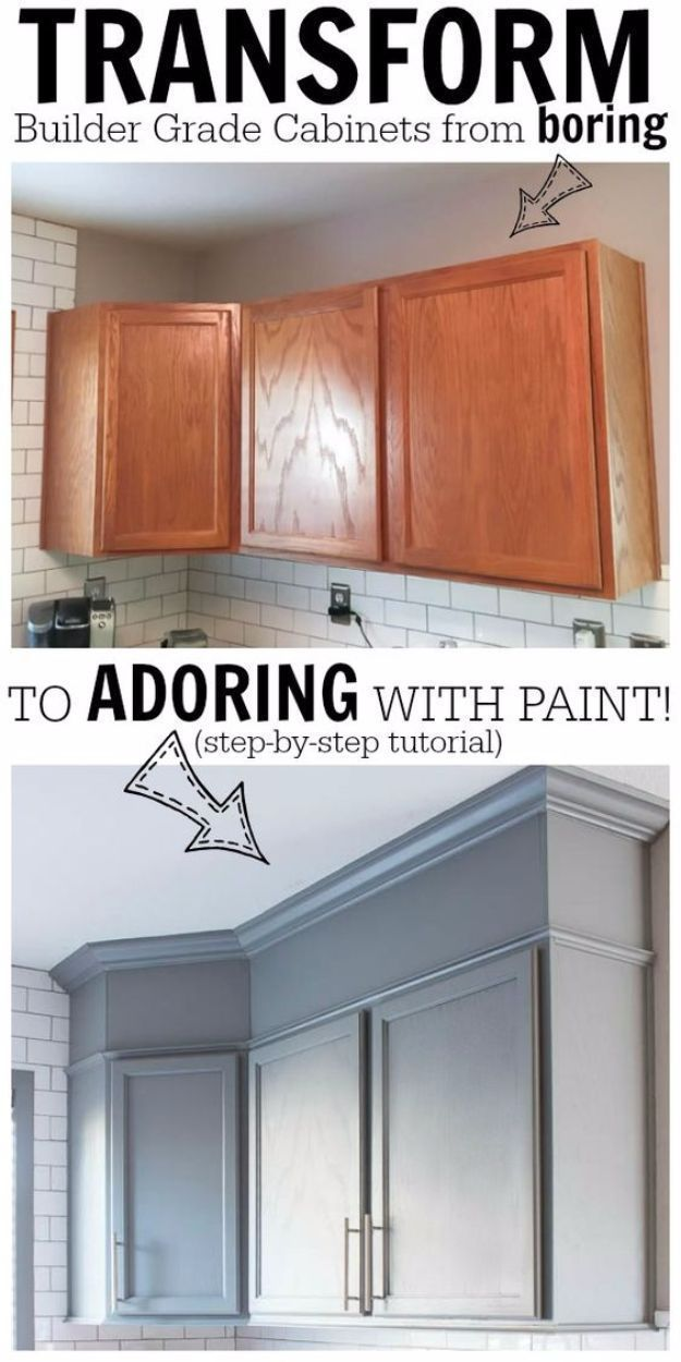 DIY Home Improvement Projects On A Budget - Transform Boring Cabinets - Cool Home Improvement Hacks, Easy and Cheap Do It Yourself Tutorials for Updating and Renovating Your House - Home Decor Tips and Tricks, Remodeling and Decorating Hacks - DIY Projects and Crafts by DIY JOY http://diyjoy.com/home-improvement-ideas-budget #BudgetHomeDecorating, #HomeDecorAccessories,