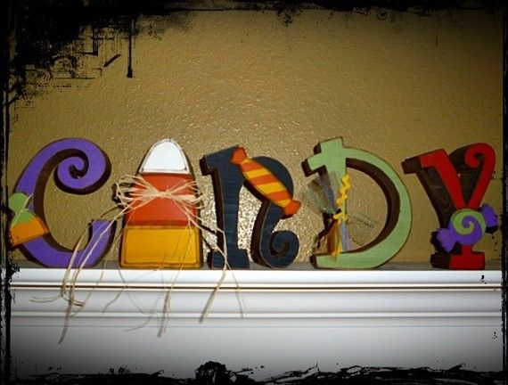 Wooden Halloween CANDY letter set decoration by craftjunkie28, $30.00