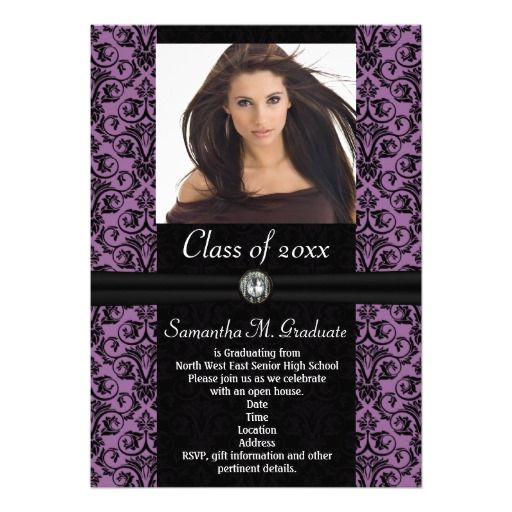 127 best purple graduation invitations images on pinterest elaborate purple black damask graduation card filmwisefo Choice Image