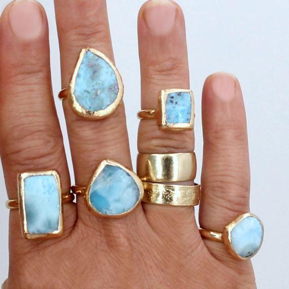 Larimar Ring Larimar Engagement Ring Raw Stone Ring Genuine Etsy In 2020 Raw Stone Ring Raw Gemstone Ring Larimar Engagement Ring